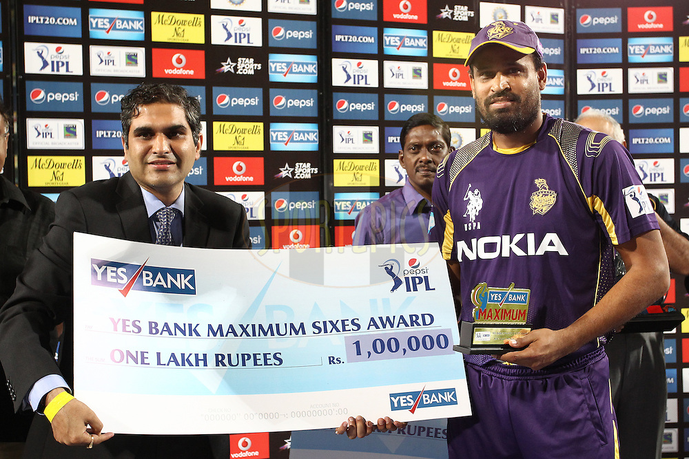 Mr Nikhil Sahni from Yes Bank presents Yusuf Pathan of the Kolkata Knight Riders the Yes Bank Maximum Sixes Award during match 21 of the Pepsi Indian Premier League Season 2014 between the Chennai Superkings and the Kolkata Knight Riders  held at the JSCA International Cricket Stadium, Ranch, India on the 2nd May  2014<br /> <br /> Photo by Shaun Roy / IPL / SPORTZPICS<br /> <br /> <br /> <br /> Image use subject to terms and conditions which can be found here:  http://sportzpics.photoshelter.com/gallery/Pepsi-IPL-Image-terms-and-conditions/G00004VW1IVJ.gB0/C0000TScjhBM6ikg