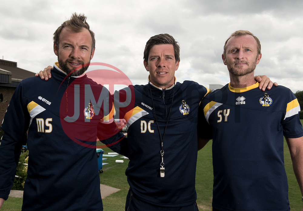 Bristol Rovers assistant manager, Marcus Stewart, Bristol Rovers Manager, Darrell Clarke and Steve Yeates - Photo mandatory by-line: Joe Meredith/JMP - Mobile: 07966 386802 04/07/2014 - SPORT - FOOTBALL - Bristol - Friends Life Sports Ground - Bristol Rovers Pre-Season training