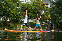 Paddle board Yoga session with Sacred Waters Yoga in Meredith Bay.  ©2014 Karen Bobotas Photographer