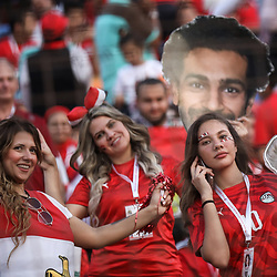 06 July 2019, Egypt, Cairo: Egypt supporters cheer in the stands prior to the start of the 2019 Africa Cup of Nations round of 16 soccer match between Egypt and South Africa at Cairo International Stadium. Photo : PictureAlliance / Icon Sport