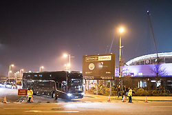 © Licensed to London News Pictures. 10/04/2018. Manchester, UK. The Liverpool City Football Clyb team coach leaves the Etihad Stadium after Liverpool beat Manchester City 1-2 in the Champions League quarter final . Police have upgraded their operation covering the match after the Manchester City coach was attacked with flares and bottles by Liverpool fans, outside Anfield last week. Photo credit: Joel Goodman/LNP