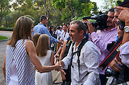 Queen Letizia of Spain pose for the photographers at the Marivent Palace on August 4, 2016 in Palma de Mallorca, Spain.
