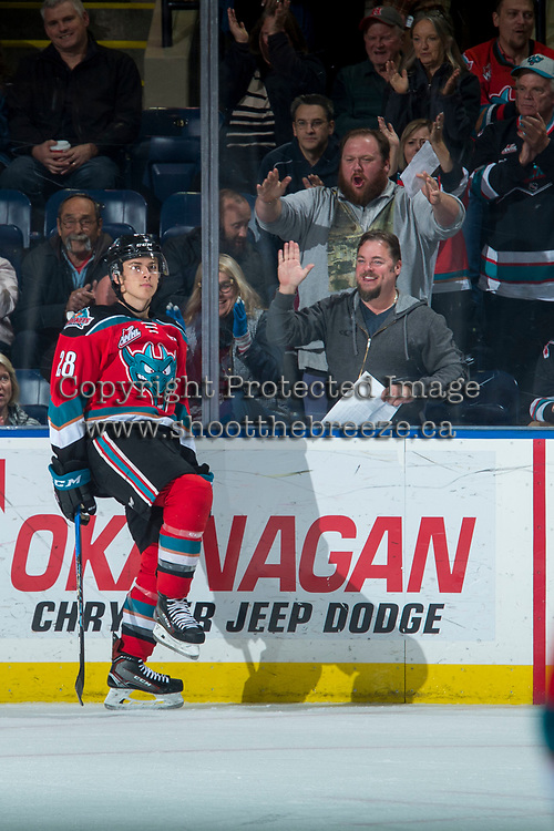 KELOWNA, CANADA - OCTOBER 28: Leif Mattson #28 of the Kelowna Rockets celebrates a first period goal against the Prince George Cougars on October 28, 2017 at Prospera Place in Kelowna, British Columbia, Canada.  (Photo by Marissa Baecker/Shoot the Breeze)  *** Local Caption ***