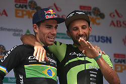 Henrique Avancini and Manuel Fumic of Cannondale Factory Racing XC chat on the podium after winning stage 1 during stage 1 of the 2017 Absa Cape Epic Mountain Bike stage race held from Hermanus High School in Hermanus, South Africa on the 20th March 2017<br /> <br /> Photo by Shaun Roy/Cape Epic/SPORTZPICS<br /> <br /> PLEASE ENSURE THE APPROPRIATE CREDIT IS GIVEN TO THE PHOTOGRAPHER AND SPORTZPICS ALONG WITH THE ABSA CAPE EPIC<br /> <br /> ace2016