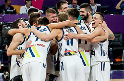 Players of Slovenia celebrate after winning during basketball match between National Teams of Slovenia and Latvia at Day 13 in Round of 16 of the FIBA EuroBasket 2017 at Sinan Erdem Dome in Istanbul, Turkey on September 12, 2017. Photo by Vid Ponikvar / Sportida