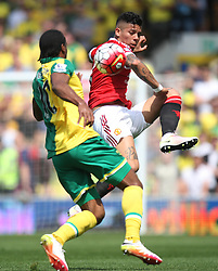 Cameron Jerome of Norwich City (L) and Marcos Rojo of Manchester United in action - Mandatory by-line: Jack Phillips/JMP - 07/05/2016 - FOOTBALL - Carrow Road - Norwich, England - Norwich City v Manchester United - Barclays Premier League
