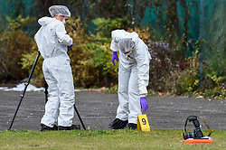 © Licensed to London News Pictures. 22/09/2019. SLOUGH, UK.  A forensics team at work at Salt Hill Park in Slough, Berkshire, where it is reported a 15 year old boy was fatally stabbed after an altercation with another male.  Emergency services attended the scene at 6.30pm on the evening of 21 September where the boy was pronounced dead.  Investigations are ongoing.  Photo credit: Stephen Chung/LNP