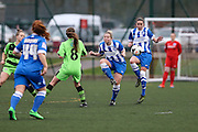 Brighton's Deanna Cooper clears for her team during the FA Women's Premier League match between Forest Green Rovers Ladies and Brighton Ladies at the Hartpury College, United Kingdom on 24 January 2016. Photo by Shane Healey.