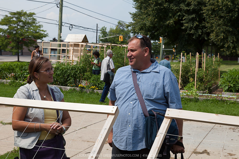 Visit to FoodShare's Bendale School Garden by Will and Erika Allen and Miguel Salcines Lopez, Isis Salcines Milla, Brian Conway, Mary Roufail, Alvaro Venturelli