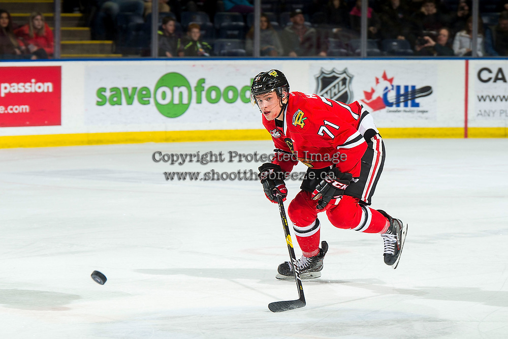 KELOWNA, BC - MARCH 02:  Cross Hanas #71 of the Portland Winterhawks skates for the puck against the Kelowna Rockets  at Prospera Place on March 2, 2019 in Kelowna, Canada. (Photo by Marissa Baecker/Getty Images)