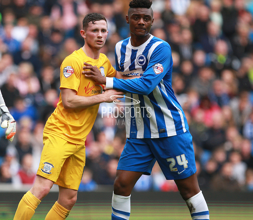 Preston North End midfielder Alan Browne & Brighton central midfielder Rohan Ince vie for space during the Sky Bet Championship match between Brighton and Hove Albion and Preston North End at the American Express Community Stadium, Brighton and Hove, England on 24 October 2015. Photo by Bennett Dean.