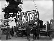 31/07/1962<br /> 07/31/1962<br /> 31 July 1962<br /> Oil drilling equipment arrives at North Wall, Dublin. Image shows loading of oil drilling machinery for Ambassador Irish oil onto a CIE truck.