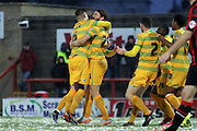 Yeovil players celebrate during the Sky Bet League 2 match between Morecambe and Yeovil Town at the Globe Arena, Morecambe, England on 16 January 2016. Photo by Pete Burns.