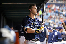 July 8, 2017 - St. Petersburg, Florida, U.S. - WILL VRAGOVIC   |   Times.Tampa Bay Rays designated hitter Corey Dickerson (10) in the dugout during the game between the Boston Red Sox and the Tampa Bay Rays at Tropicana Field in St. Petersburg, Fla. on Saturday, July 8, 2017. (Credit Image: © Will Vragovic/Tampa Bay Times via ZUMA Wire)