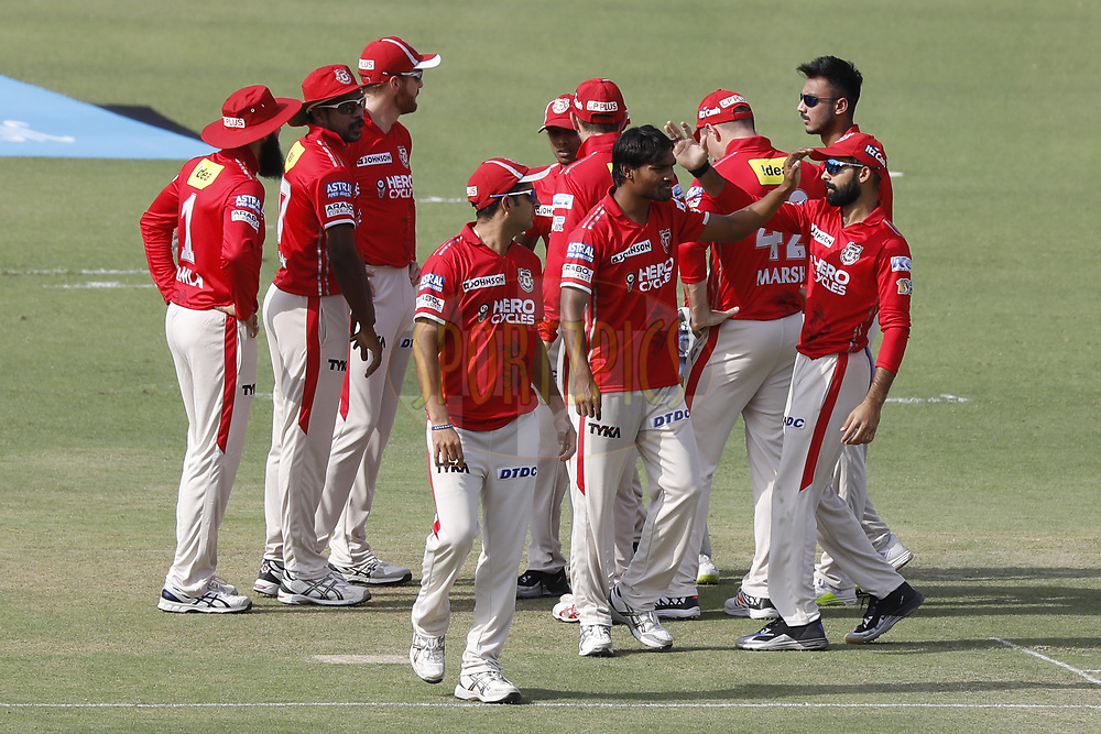 Sandeep Sharma of Kings XI Punjab celebrate the wicket of Sam Billings of the Delhi Daredevils during match 36 of the Vivo 2017 Indian Premier League between the Kings XI Punjab and the Delhi Daredevils  held at the Punjab Cricket Association IS Bindra Stadium in Mohali, India on the 30th April 2017<br /> <br /> Photo by Arjun Singh - Sportzpics - IPL