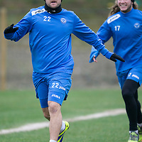 St Johnstone Training....31.01.14<br /> Lee Croft messing around during training this morning ahead of tomorrow's League Cup Final against Aberdeen.<br /> Picture by Graeme Hart.<br /> Copyright Perthshire Picture Agency<br /> Tel: 01738 623350  Mobile: 07990 594431
