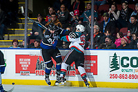 KELOWNA, CANADA - DECEMBER 30: Chaz Reddekopp #29 of the Victoria Royals checks Leif Mattson #28 of the Kelowna Rockets during first period on December 30, 2017 at Prospera Place in Kelowna, British Columbia, Canada.  (Photo by Marissa Baecker/Shoot the Breeze)  *** Local Caption ***