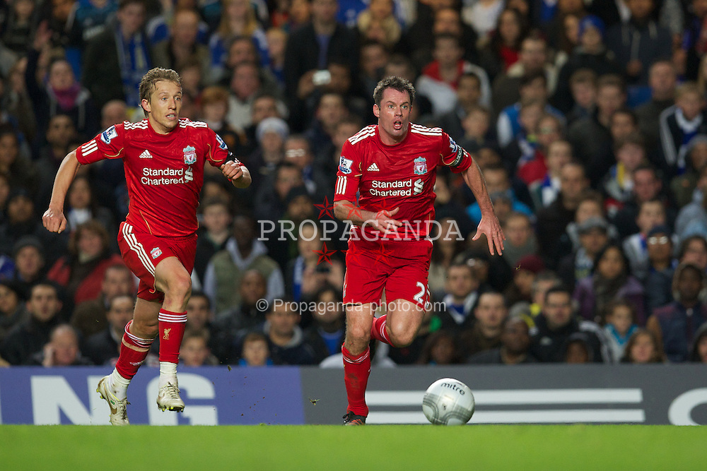 LONDON, ENGLAND - Tuesday, November 29, 2011: Liverpool's Lucas Leiva and Jamie Carragher in action against Chelsea during the Football League Cup Quarter-Final match at Stamford Bridge. (Pic by David Rawcliffe/Propaganda)