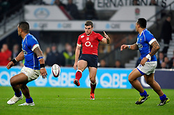 George Ford of England puts boot to ball - Photo mandatory by-line: Patrick Khachfe/JMP - Mobile: 07966 386802 22/11/2014 - SPORT - RUGBY UNION - London - Twickenham Stadium - England v Samoa - QBE Internationals