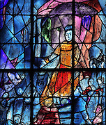 Saint Louis delivering justice, stained glass window, 1974, by Marc Chagall, 1887-1985, with the studio of Jacques Simon, in the axial chapel of the apse of the Cathedrale Notre-Dame de Reims or Reims Cathedral, Reims, Champagne-Ardenne, France. The cathedral was built 1211-75 in French Gothic style with work continuing into the 14th century, and was listed as a UNESCO World Heritage Site in 1991. Picture by Manuel Cohen