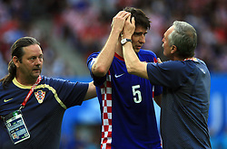 Vedran Corluka of Croatia had a hit in his head during the UEFA EURO 2008 Group B soccer match between Austria and Croatia at Ernst-Happel Stadium, on June 8,2008, in Vienna, Austria.  (Photo by Vid Ponikvar / Sportal Images)