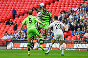 Forest Green Rovers Dale Bennett(6) wins a header during the Vanarama National League Play Off Final match between Tranmere Rovers and Forest Green Rovers at Wembley Stadium, London, England on 14 May 2017. Photo by Adam Rivers.