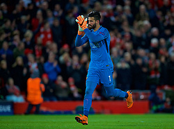 LIVERPOOL, ENGLAND - Tuesday, April 24, 2018: AS Roma's goalkeeper Alisson Becker applauds the Liverpool supporters during the UEFA Champions League Semi-Final 1st Leg match between Liverpool FC and AS Roma at Anfield. (Pic by David Rawcliffe/Propaganda)