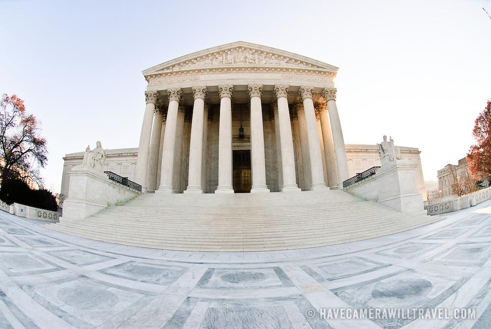 US Supreme Court Building in Washington DC. Fisheye extreme wide angle