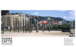 A panoramic view of Wellington's Lambton Harbour area. at Lambton Harbour, Wellington, New Zealand.