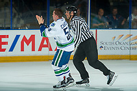 PENTICTON, CANADA - SEPTEMBER 8: Michael Carcone #58 of Vancouver Canucks teases the fans after dropping the gloves with a player of the Winnipeg Jets on September 8, 2017 at the South Okanagan Event Centre in Penticton, British Columbia, Canada.  (Photo by Marissa Baecker/Shoot the Breeze)  *** Local Caption ***