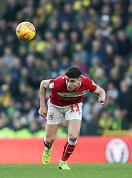 Callum O'Dowda of Bristol City heads the ball - Mandatory by-line: Arron Gent/JMP - 23/02/2019 - FOOTBALL - Carrow Road - Norwich, England - Norwich City v Bristol City - Sky Bet Championship