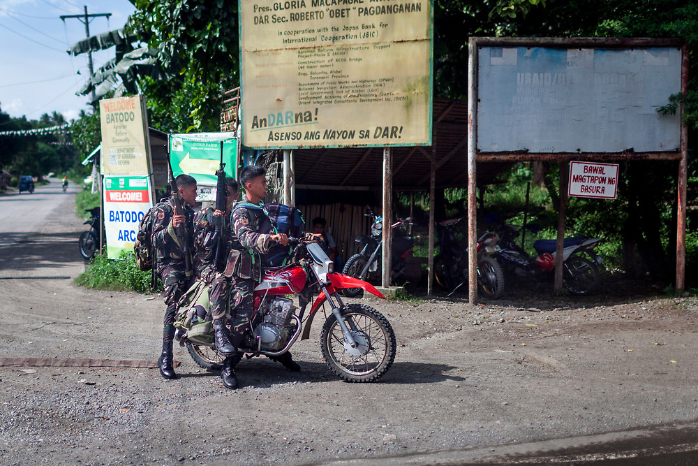 General Santos City, Mindanao, Philippines - JUNE 20:  Army personnels are seen on the road to Sarangani Province.