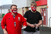 Two Middlesbrough fans with tickets ahead of the EFL Sky Bet Championship match between Middlesbrough and Bournemouth at the Riverside Stadium, Middlesbrough, England on 19 September 2020.