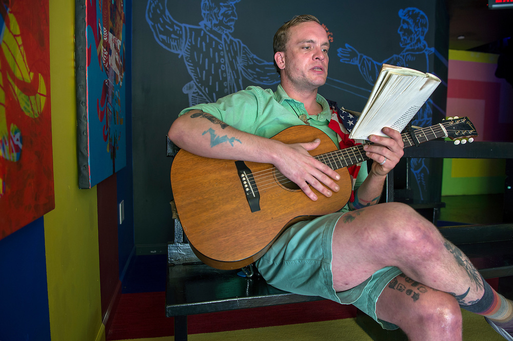 em053117e/jnorth/Mikey Rae, a.k.a. Spare Rib, reads allowed as part of Meow Wolf's Summer in the Multiverse at the House of Eternal Return in Santa Fe Wednesday May 31, 2017.  (Eddie Moore/Albuquerque Journal