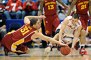 DAYTON, OH - MARCH 24: Georges Niang #31 of the Iowa State Cyclones and Aaron Craft #4 of the Ohio State Buckeyes battle for a loose ball in the first half during the third round of the 2013 NCAA Men's Basketball Tournament at UD Arena on March 24, 2013 in Dayton, Ohio. (Photo by Jason Miller/Getty Images)