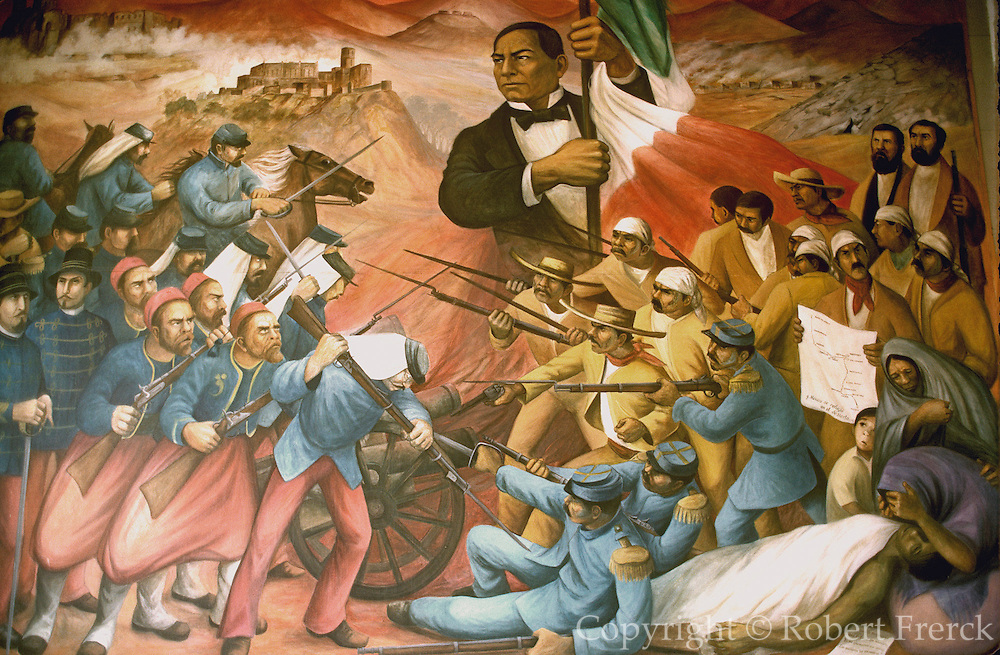 MEXICO, MEXICO CITY, MURAL Juarez at Battle of Puebla against French