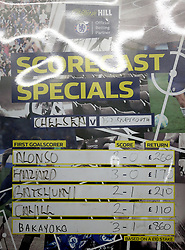"""Odds are displayed on a William Hill betting board prior to the Premier League match at Stamford Bridge, London. PRESS ASSOCIATION Photo. Picture date: Wednesday January 31, 2018. See PA story SOCCER Chelsea. Photo credit should read: Nigel French/PA Wire. RESTRICTIONS: EDITORIAL USE ONLY No use with unauthorised audio, video, data, fixture lists, club/league logos or """"live"""" services. Online in-match use limited to 75 images, no video emulation. No use in betting, games or single club/league/player publications."""
