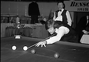 1980-05-01.1st May 1980.01-05-1980.05-01-80..Photographed at Goffs, Kill, Co Kildare  ..Taking Aim:..Alex Higgins lining up a shot in the Benson and Hedges Irish Masters Snooker Championships. .Denis Taylor looks on.