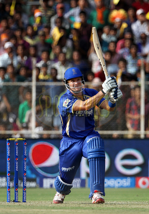 Shane Watson captain of the Rajasthan Royals plays a shot during match 25 of the Pepsi Indian Premier League Season 2014 between the Rajasthan Royals and the Kolkata Knight Riders held at the Sardar Patel Stadium, Ahmedabad, India on the 5th May  2014<br /> <br /> Photo by Vipin Pawar / IPL / SPORTZPICS      <br /> <br /> <br /> <br /> Image use subject to terms and conditions which can be found here:  http://sportzpics.photoshelter.com/gallery/Pepsi-IPL-Image-terms-and-conditions/G00004VW1IVJ.gB0/C0000TScjhBM6ikg