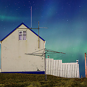 Beautiful Northern Lights over the Grímsey island - northernmost point of Iceland where the Arctic Circle starts. No light pollution on the night sky!