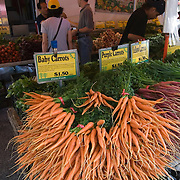Carrots for sale at Union Square Farmer's Market in Manhattan