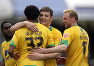 Bristol - Saturday May 1st, 2010: Norwich City goalscorer Oli Johnson (R) celebrates with team mates Chris Martin (C) and Stephen Hughes during the Coca Cola League One match at The Memorial Stadium, Bristol. (Pic by Mark Chapman/Focus Images)..
