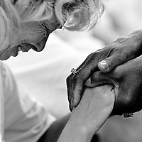 """..Plane State Jail inmate Shirley Berry breaks down and is comforted by a volunteer counselor after being led through the """"Sinners Prayer"""" and being born-again as a Christian."""