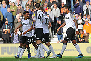 Celebrations as Derby County forward Martyn Waghorn scores a goal during the EFL Sky Bet Championship match between Derby County and Birmingham City at the Pride Park, Derby, England on 28 September 2019.
