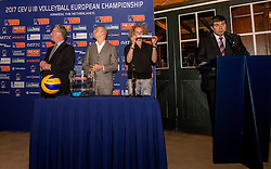 10-02-2017 NED:  Loting CEV U18 Europees Kampioenschap vrouwen, Arnhem<br /> In het Openluchtmuseum te Arnhem was de loting dat begin april in Arnhem wordt gehouden / Jan Markink, Gerrie Elfrink, CEV delegate Tomas Singer