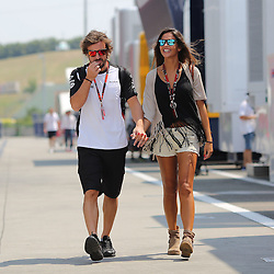 23.07.2015, Hungaroring, Budapest, HUN, FIA, Formel 1, Grand Prix von Ungarn, Vorberichte, im Bild Fernando Alonso (McLaren Honda) Hand in Hand mit seiner Freundin Lara Alvarez (TV-Journalistin) // during the preperation of the Hungarian Formula One Grand Prix at the Hungaroring in Budapest, Hungary on 2015/07/23. EXPA Pictures &copy; 2015, PhotoCredit: EXPA/ Eibner-Pressefoto/ Bermel<br /> <br /> *****ATTENTION - OUT of GER*****