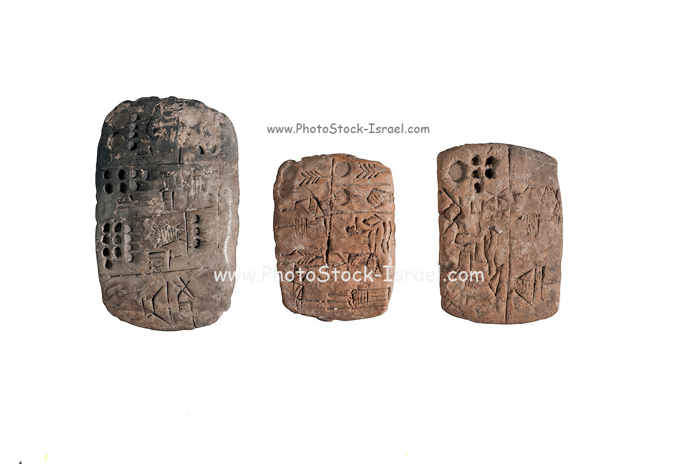 3 pictographic clay tablets with administrative text Uruk Period circa 3000 BCE (private collection)