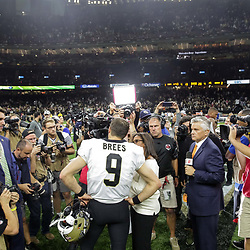 Oct 8, 2018; New Orleans, LA, USA New Orleans Saints quarterback Drew Brees (9) is interviewed following a win against the Washington Redskins at the Mercedes-Benz Superdome. The Saints defeated the Redskins 43-19.