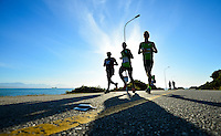 MOSSEL BAY, SOUTH AFRICA - SEPTEMBER 24: runners run through the picturesque town on the half marathon route during the PetroSA Marathon finishing at Santos Caravan Park on September 24, 2016 in Mossel Bay, South Africa. (Photo by Roger Sedres/Gallo Images)