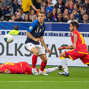 PARIS, FRANCE - September 10:  Lucas Digne #3 of France defended by Ludovic Clemente #10 of Andorra during the France V Andorra, UEFA European Championship 2020 Qualifying match at Stade de France on September 10th 2019 in Paris, France (Photo by Tim Clayton/Corbis via Getty Images)
